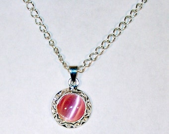 Pink Cat's Eye Cabochon Necklace