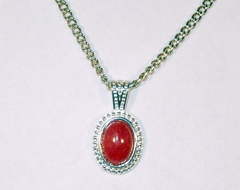 Red Mountain Jade Cabochon Necklace