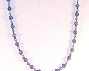 Gemstone & Swarovski Crystal Necklace - Light Blue Agate