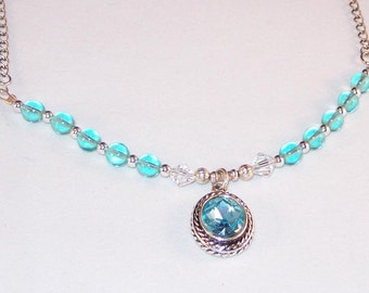Silver and Aquamarine Crystal Necklace