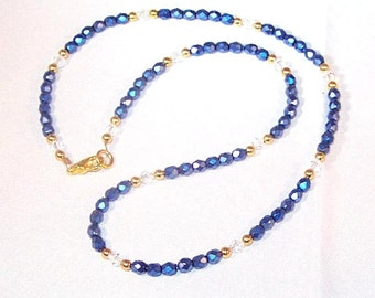 Blue Iris Crystal Necklace