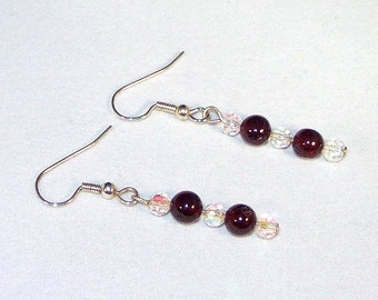 Garnet and Swarovski Crystal Earrings