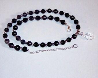 Gemstone & Swarovski Crystal Jewelry - Black Agate and Swarovski Crystal Necklace