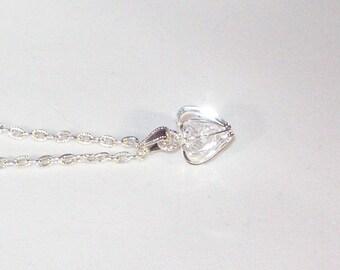 Swarovski Crystals in Silver Heart Cage