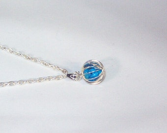 Gemstone Jewelry - Turquoise Howlite Pebbles in Silver Cage