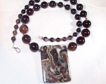 Black Agate and Jasper Necklace