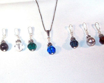 Swarovski Crystal and Pearl Jewelry - Interchangeable Pendant Necklace with 7 Pendants