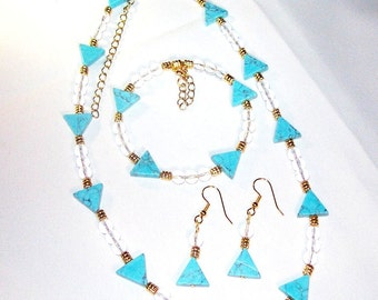 Turquoise and Crystal Set with Gold