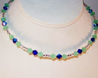 Frosty Green and Blue Crystal Necklace - Memory Wire