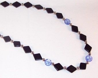 Gemstone Jewelry - Blackstone and Snowflake Quartz Necklace