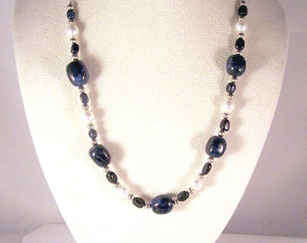 Gemstone and Swarovski Pearls Jewelry - Dumortierite and Pearls Necklace