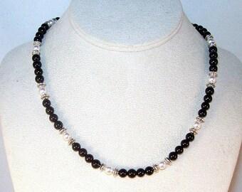Black Onyx and Swarovski Pearls Necklace
