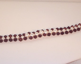 Swarovski Pearl and Crystal Jewelry - Bridal or Birthstone  Bracelet - Made to Order in Any Color