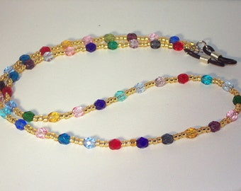 Czech Crystal Jewelry - Eyeglass Necklace - Multicolored - Any Color - SHIPS WITHIN 24 HRS