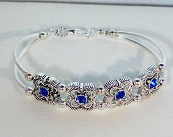 Swarovski Sapphire Crystal Bracelet - Birthstone, Bridal