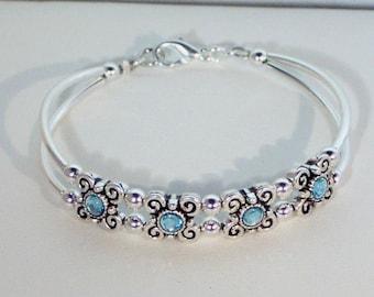 Swarovski Aquamarine Crystal Bracelet - Birthstone, Bridal