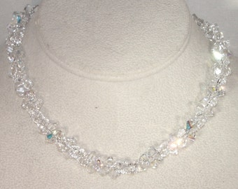 Swarovski Crystal Jewelry - Clear AB and Clear Swarovski Crystal & Sterling Silver Necklace - Any Color - Bride, Bridesmaid, Maid of Honor