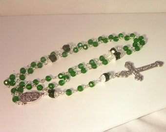 Celestial Crystal Rosary - Shown in Emerald - Upgraded Cross