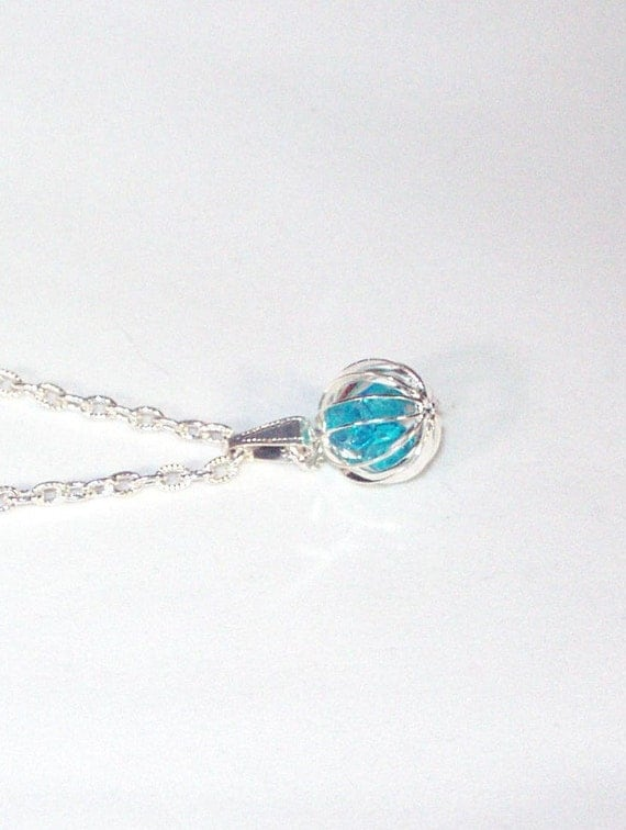 Turquoise Austrian Crystals in Silver Cage