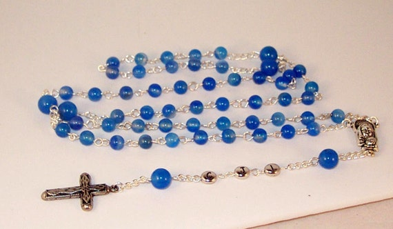 Gemstone & Silver Rosary Necklace - Personalized with 3 Initials - Gold or Silver