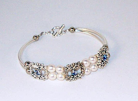 Bridal Bracelet - Swarovski Pearl & Aquamarine Crystal - 1 of a Kind