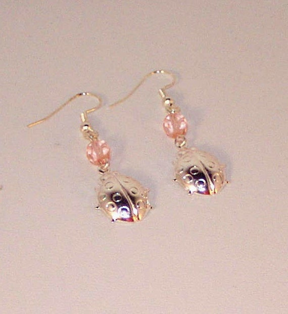Silver Ladybugs and Pink Crystal Earrings