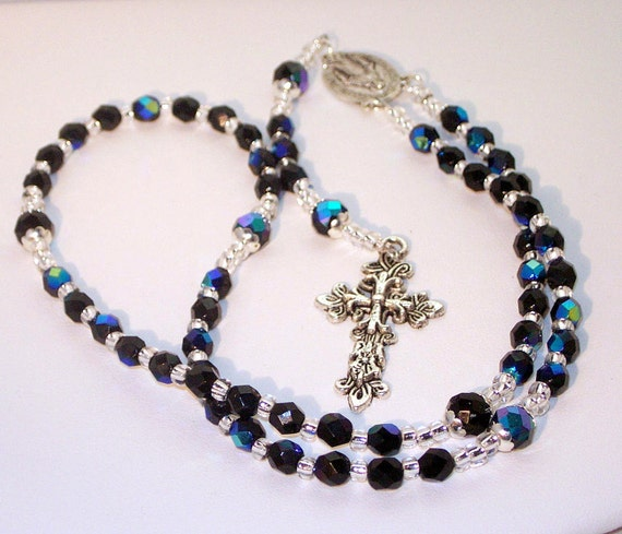 Crystal Birthstone Rosary with Large Pewter Cross  - Black AB Swarovski Crystal - Available in any Color for Any Month