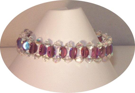 SALE Czech Crystal Jewelry - Woven Bracelet - Any Color
