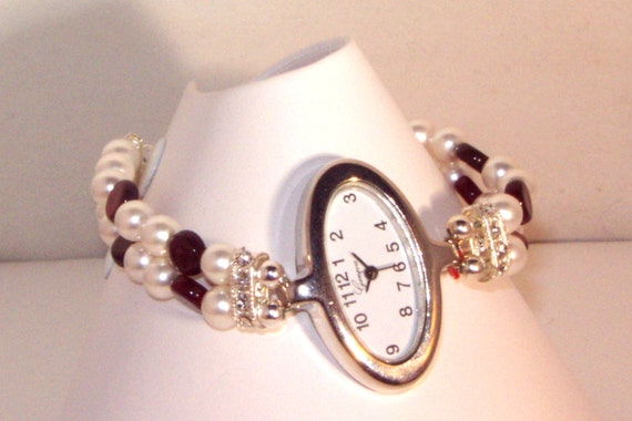 Watch & Bracelet - Silver Watch on Swarovski Pearl and Garnet Coins Bracelet