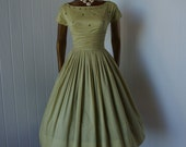 vintage 1950s ...natlynn new york sage green full skirt dress with appliques rhinestones and a crinoline   -featured item-