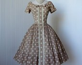 vintage 1950's dress  ...dior inspired GIGI YOUNG nude with white  polka dots full skirt pin-up summer cocktail party dress