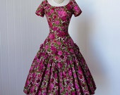vintage 1950's dress  ...gorgeous designer PAT PREMO cross stitch floral  print cotton full skirt cocktail party dress with net underskirt