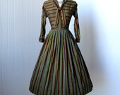 vintage 1950's dress ...never worn a KTG original woven stripes full skirt pin-up dress with rhinestone buttons and pussy bow