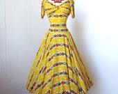 vintage 1940's dress ...rare MILLIE B. OPPENHEIMER floral butterflies hearts novelty print full circle skirt pin-up party dress