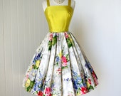 vintage 1950's dress ...made in france for SAKS FIFTH AVENUE gorgeous chartreuse shantung and floral cotton full skirt pin-up party dress