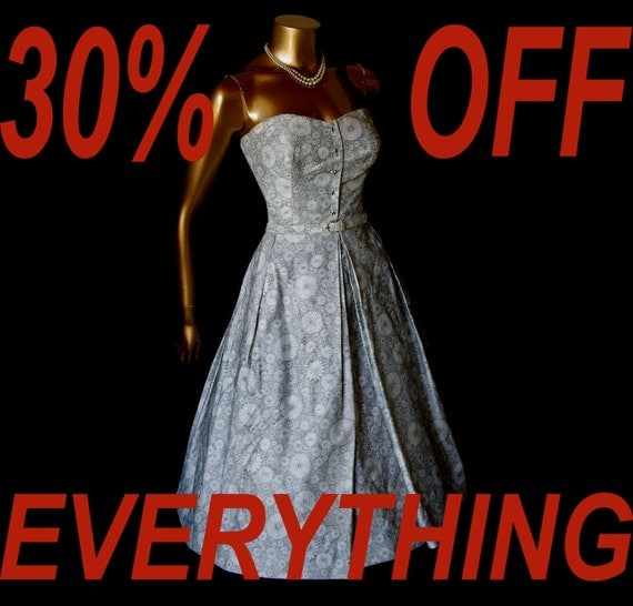 30 PERCENT OFF FOR 5 DAYS ONLY... Fabulous Vintage Black and White 40's 50's Party Dress with Bolero Jacket