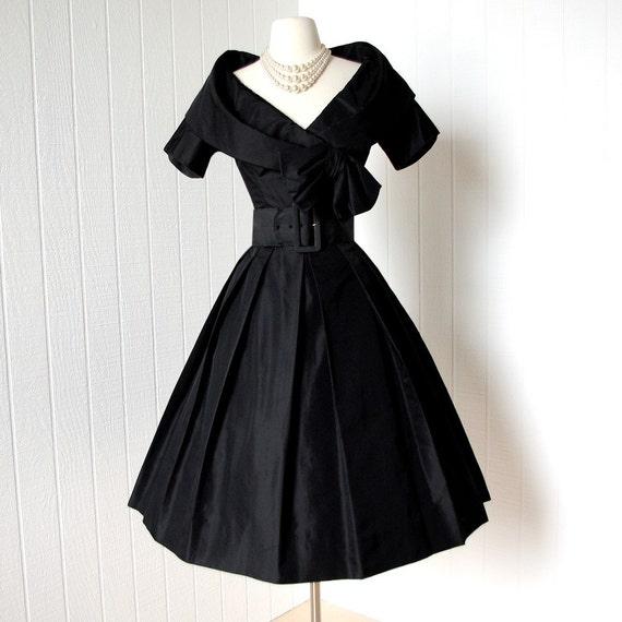 Vintage 1950s Dress Couture Designer Suzy Perette By