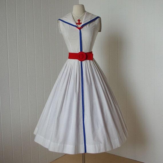 vintage 1950's dress   ...JERRY GILDEN spectator white cotton quintessential sailorette sailor victory full skirt pin-up sundress