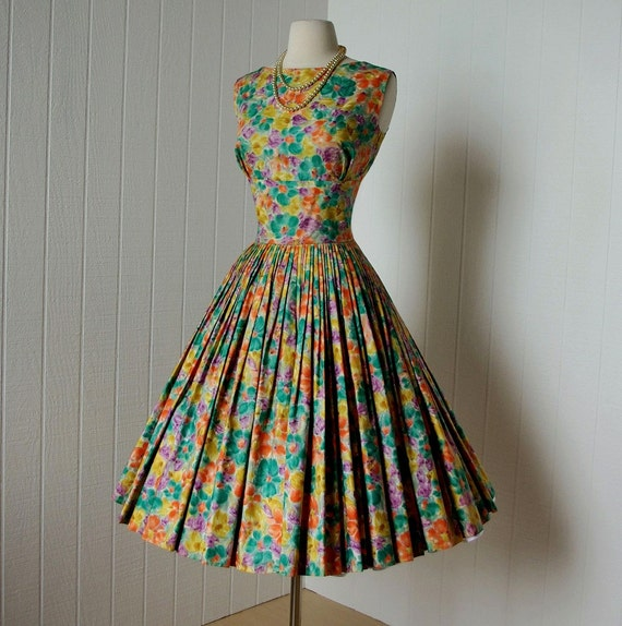 vintage 1950s dress   ...gorgeous polished cotton watercolor floral sleeveless shelf-bust full circle skirt pin-up dress