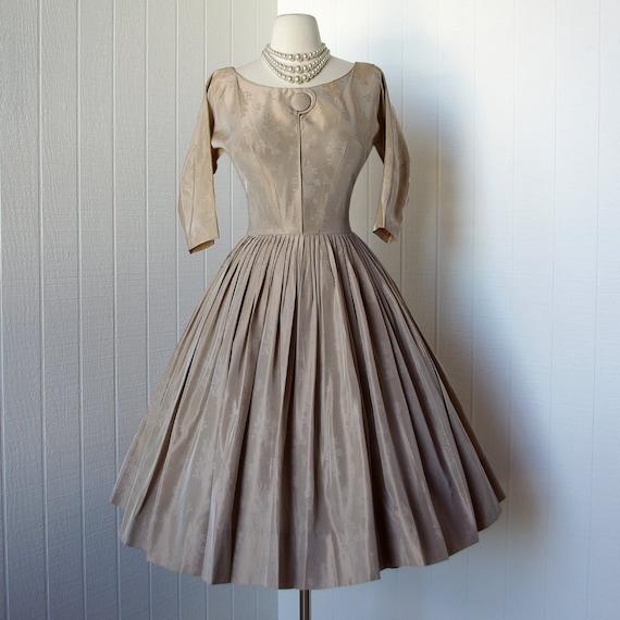 vintage 1950's dress  ...classic nude tone on tone taffeta damask full skirt pin-up swing dress