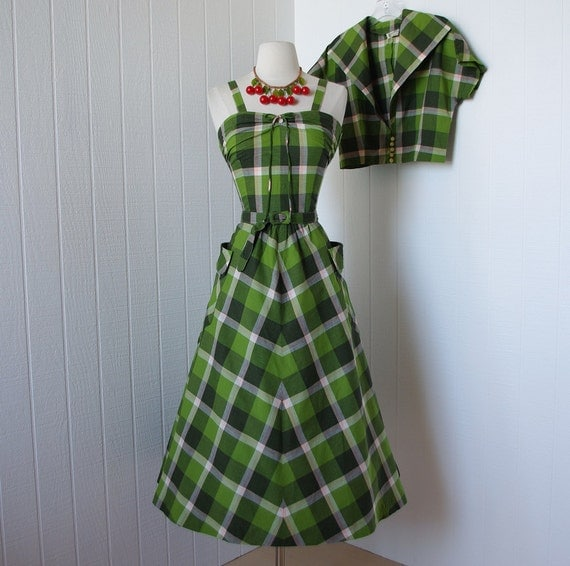 vintage 1940's dress  ...fabulous ANNETTA NEW YORK classic green madras cotton convertible halter sundress and bolero jacket