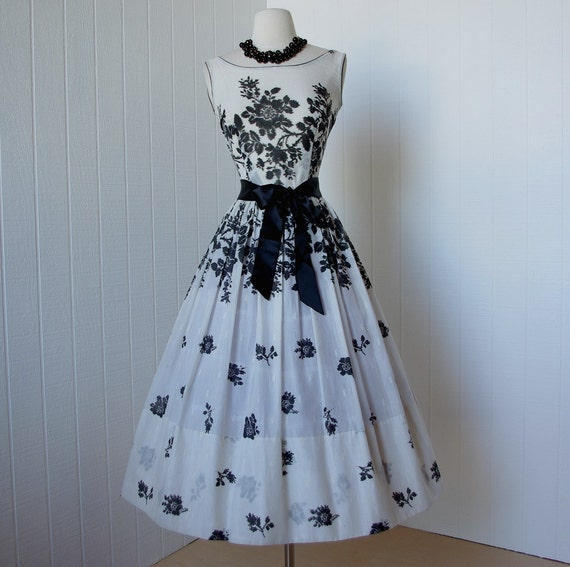 vintage 1950 s dress gorgeous l aiglon semi sheer