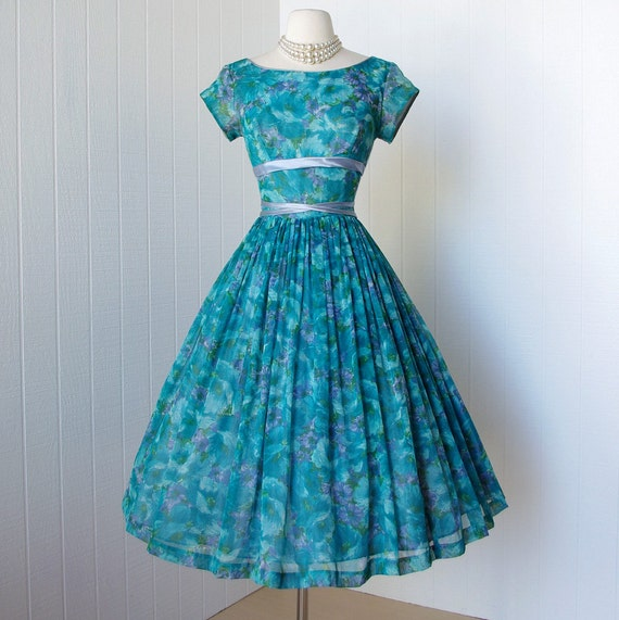 vintage 1950's dress  ...beautiful garden party floral chiffon shelf-bust full skirt prom cocktail pin-up dress