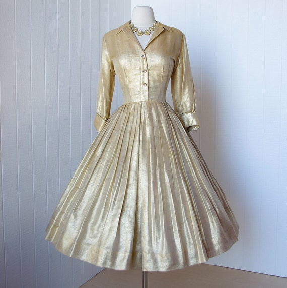 vintage 1950's dress ...decadent SUZY PERETTE rich gold lame' full skirt shirtwaist pin-up cocktail dress