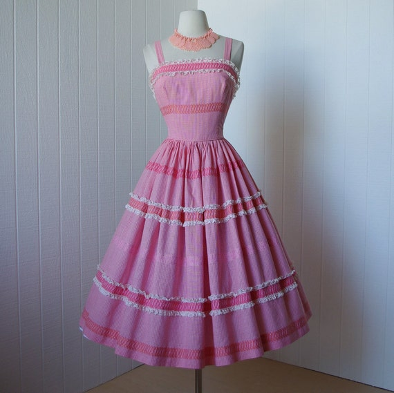 vintage 1950's dress  ...pretty in pink gingham plaid embroidered scroll convertible halter  pin-up dress