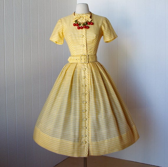 vintage 1950's dress ...quintessential GIGI YOUNG new york yellow bardot gingham full skirt shirtwaist pin-up dress