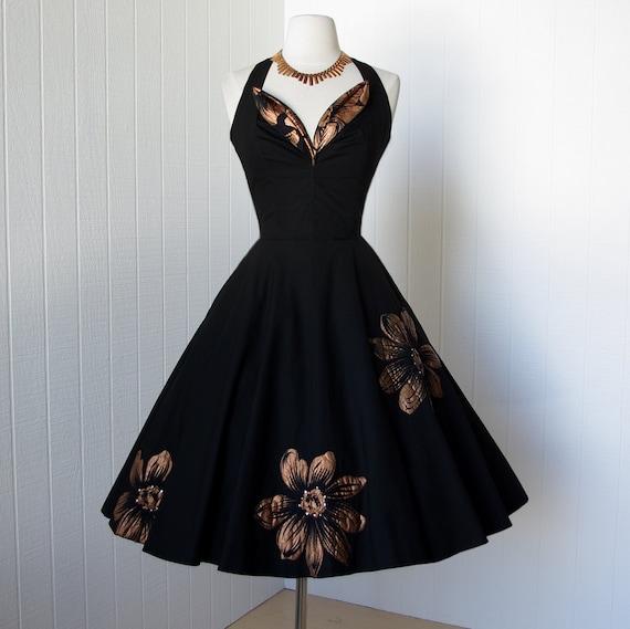 vintage 1950's dress ...fantastic MARC-EL FASHIONS of miami black cotton halter petal bust handpainted floral appliques full skirt dress