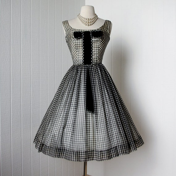vintage 1950's dress ...black & white organza GINGHAM full skirt cocktail party pin-up dress with velvet bow and crinoline underslip
