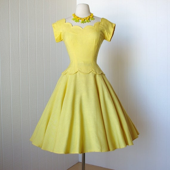on HOLD vintage 1950's dress ...designer MR. MORT by betty carol sunshine linen scalloped full circle skirt pin-up cocktail party dress