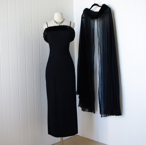 vintage 1950's dress ...spectacular MR. FRANK ORIGINAL black mink trimmed cocktail party dress and chiffon cape